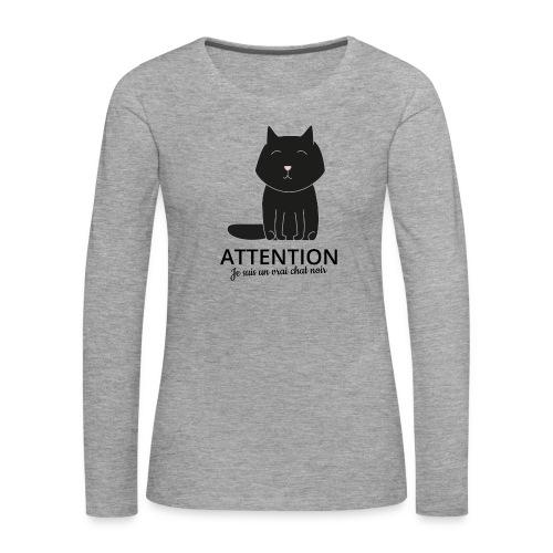 Chat noir - T-shirt manches longues Premium Femme