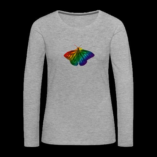 Regenboog vlinder - Freedom, Love en Happiness - Vrouwen Premium shirt met lange mouwen