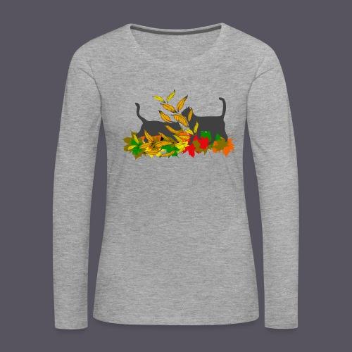 spielende Katzen in bunten Blättern - Frauen Premium Langarmshirt