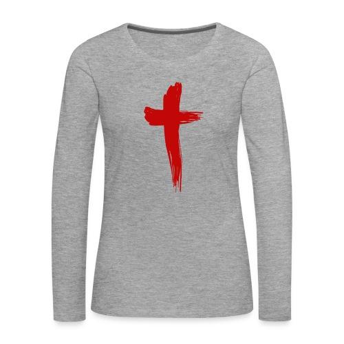 Kreuz rot - Frauen Premium Langarmshirt