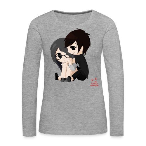 otaku anime pareja chibi kawaii - Camiseta de manga larga premium mujer