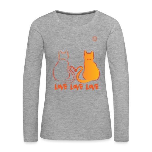 The Red Twins LOVE LOVE LOVE - Maglietta Premium a manica lunga da donna