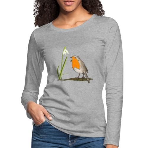 Frühling, Rotkehlchen, Schneeglöckchen - Frauen Premium Langarmshirt