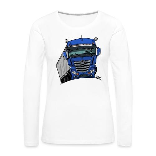 0807 M truck blauw trailer - Vrouwen Premium shirt met lange mouwen