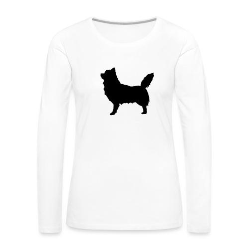 Chihuahua pitkakarva musta - Naisten premium pitkähihainen t-paita