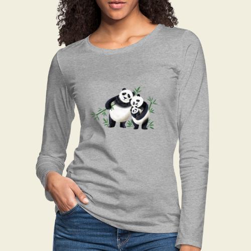Pandafamilie Baby - Frauen Premium Langarmshirt