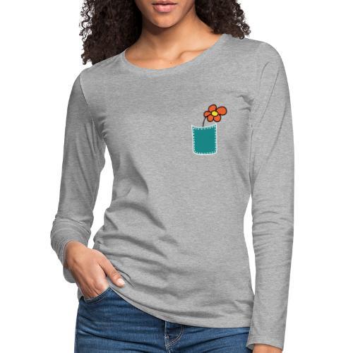 Brusttasche Blume - Frauen Premium Langarmshirt