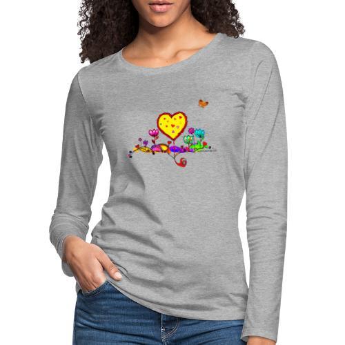 Blumengruß mit Herz - Frauen Premium Langarmshirt