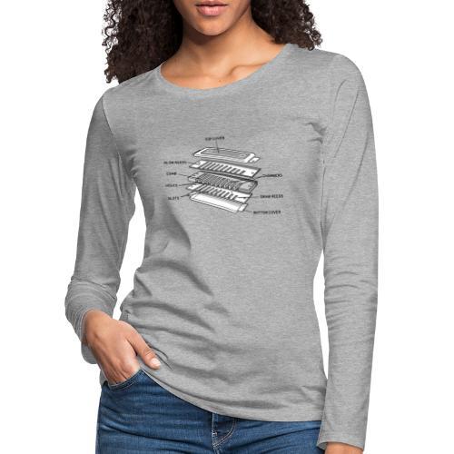 Exploded harmonica - black text - Women's Premium Longsleeve Shirt