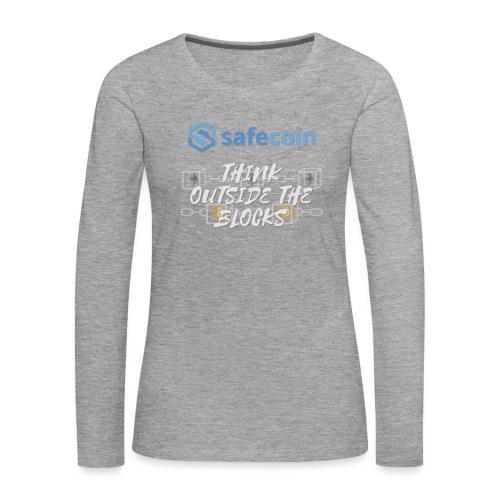 SafeCoin; Think Outside the Blocks (blue + white) - Women's Premium Longsleeve Shirt
