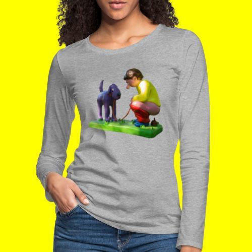 Mannetje Poep vrijstaand - Vrouwen Premium shirt met lange mouwen