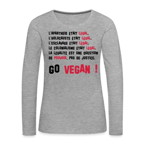 GO VEGAN - T-shirt manches longues Premium Femme