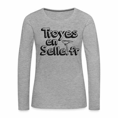 logo Troyes en Selle noir - T-shirt manches longues Premium Femme