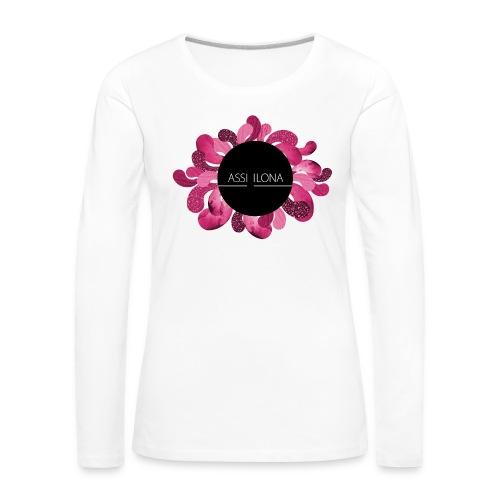 Naisten huppari punaisella logolla - Naisten premium pitkähihainen t-paita