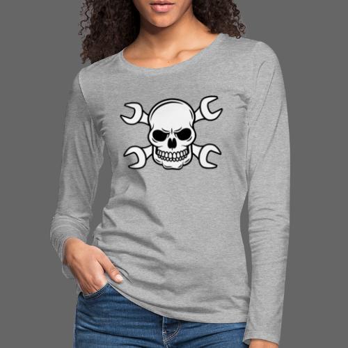 MEKKER SKULL - Dame premium T-shirt med lange ærmer