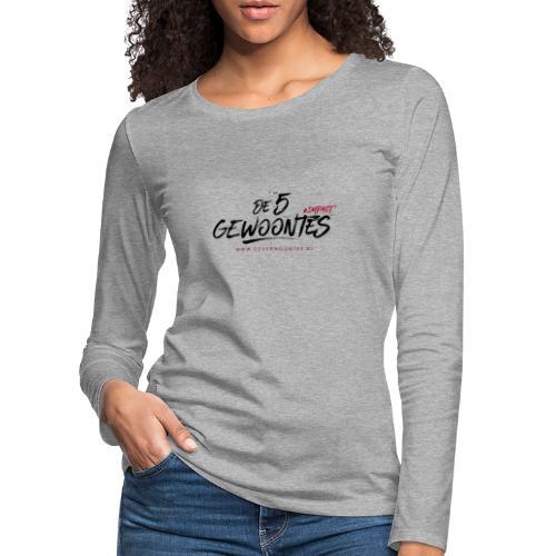 Logo de 5 gewoontes zwart - Vrouwen Premium shirt met lange mouwen