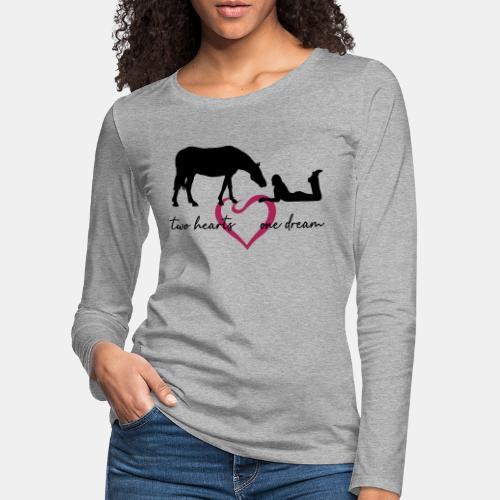 two hearts one dream liegendes Mädchen Pferd - Frauen Premium Langarmshirt