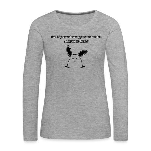 adoptez un lapin ! - T-shirt manches longues Premium Femme