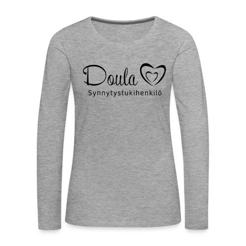 doula sydämet synnytystukihenkilö - Naisten premium pitkähihainen t-paita