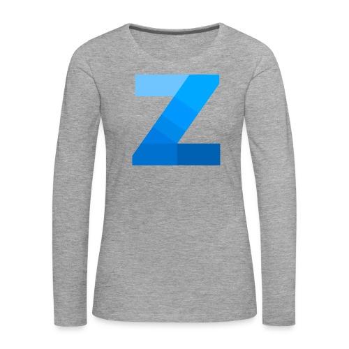 ZettaOS Blue Contrast - Vrouwen Premium shirt met lange mouwen