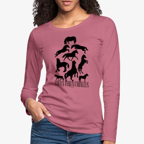 Equus Ferus Caballus Black - Naisten premium pitkähihainen t-paita