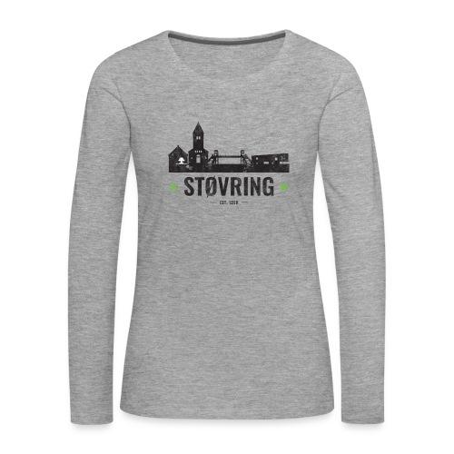 Støvring City Black Green - Dame premium T-shirt med lange ærmer