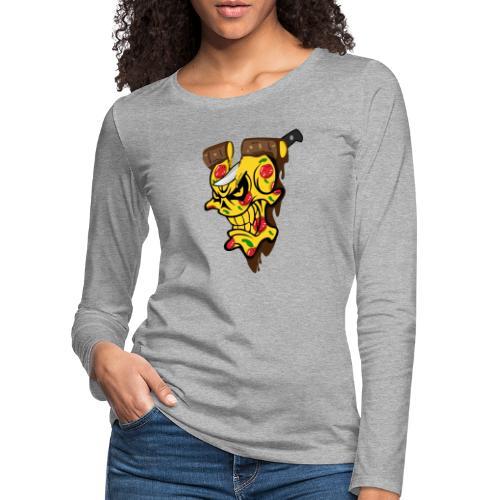 Pizza Schädel mit Messer - Frauen Premium Langarmshirt