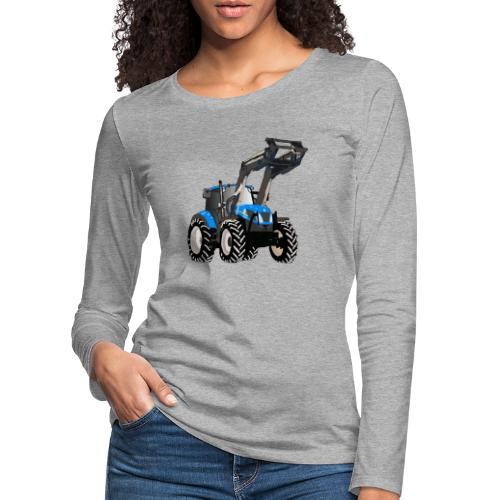 Blauer Traktor mit Frontlader - Frauen Premium Langarmshirt