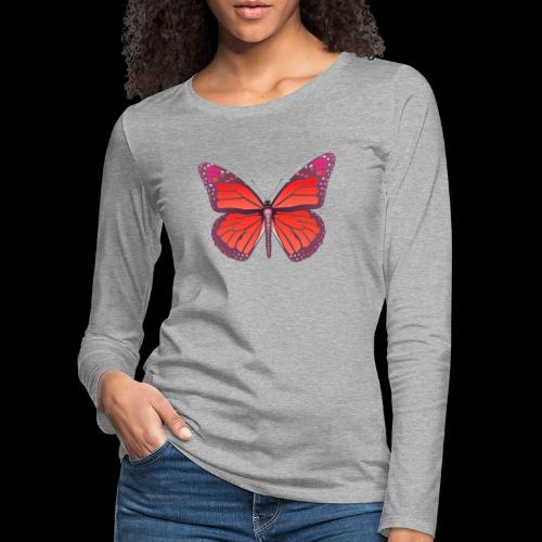 D28 monarch butterfly red lajarindream 4500px - Camiseta de manga larga premium mujer