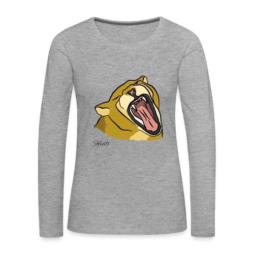 Gähnender / brüllender Löwe - Frauen Premium Langarmshirt