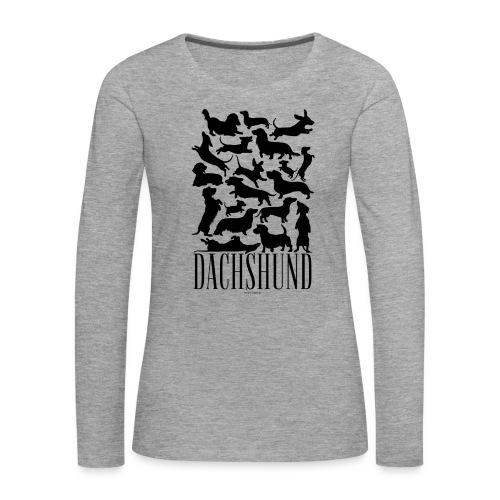 Dachshund Black - Naisten premium pitkähihainen t-paita