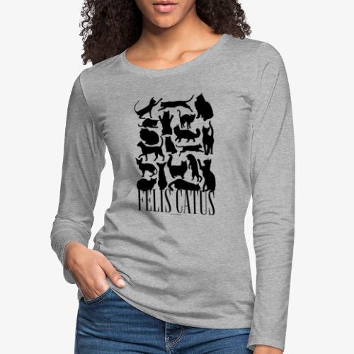 Felis Catus Black - Naisten premium pitkähihainen t-paita