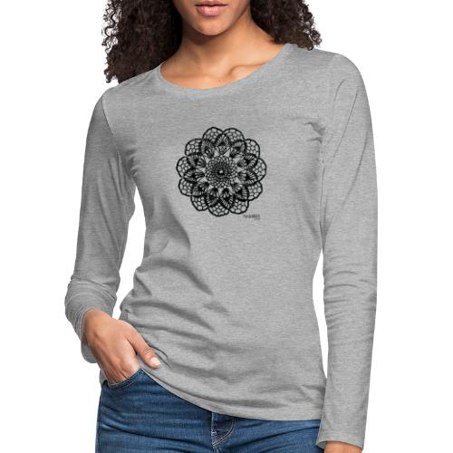 Grannys flower, musta - Naisten premium pitkähihainen t-paita