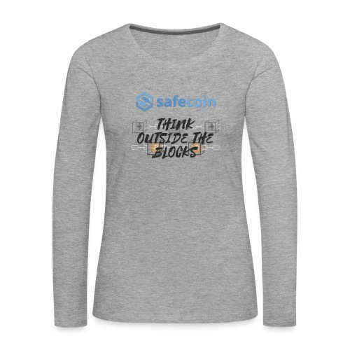 SafeCoin; Think Outside the Blocks (black + blue) - Women's Premium Longsleeve Shirt