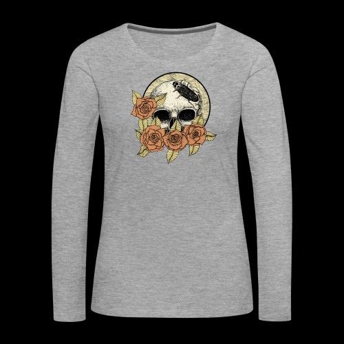 Rose et tête de mort - T-shirt manches longues Premium Femme