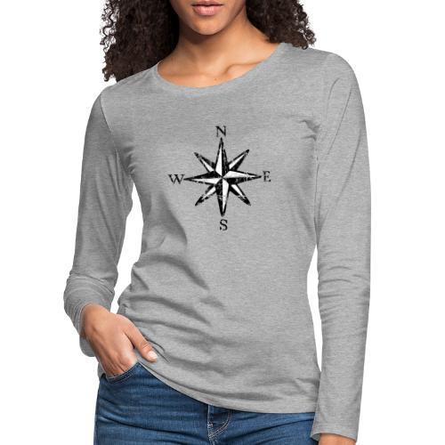 Windrose Segel Segeln Segler Vintage Schwarz-Weiß - Frauen Premium Langarmshirt