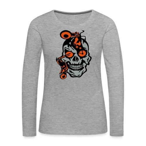 tete mort moto motrocycle oeil skull - T-shirt manches longues Premium Femme
