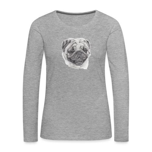 Pug mops 2 - Dame premium T-shirt med lange ærmer