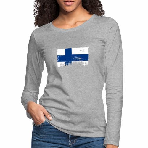 Suomen lippu, Finnish flag T-shirts 151 Products - Naisten premium pitkähihainen t-paita