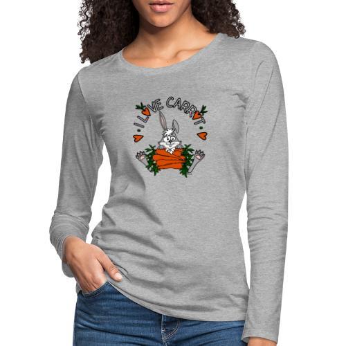 Lapin, Kaninchen, Coniglio, Humour, Legumes, Vegan - T-shirt manches longues Premium Femme