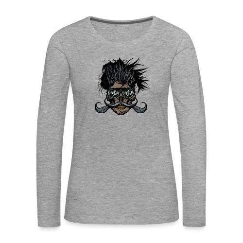 hipster skull tete de mort crane barbu moustache - T-shirt manches longues Premium Femme