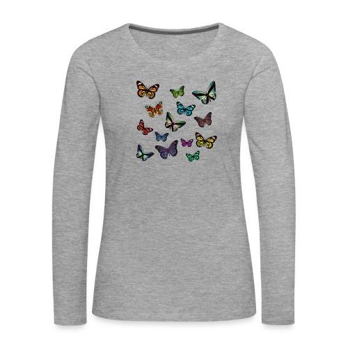 Butterflies flying - Långärmad premium-T-shirt dam