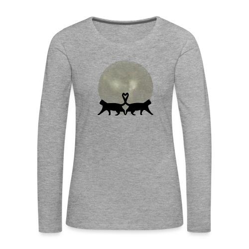 Cats in the moonlight - Vrouwen Premium shirt met lange mouwen