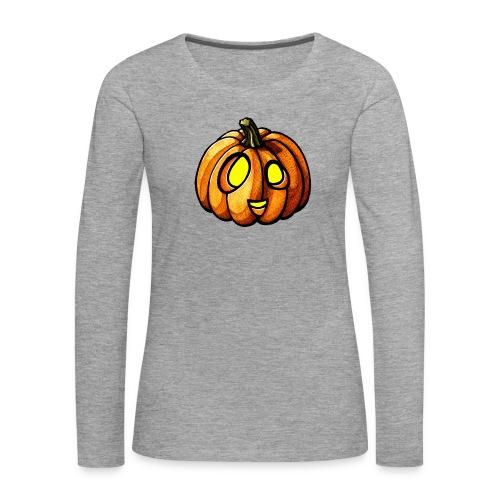 Pumpkin Halloween watercolor scribblesirii - Naisten premium pitkähihainen t-paita