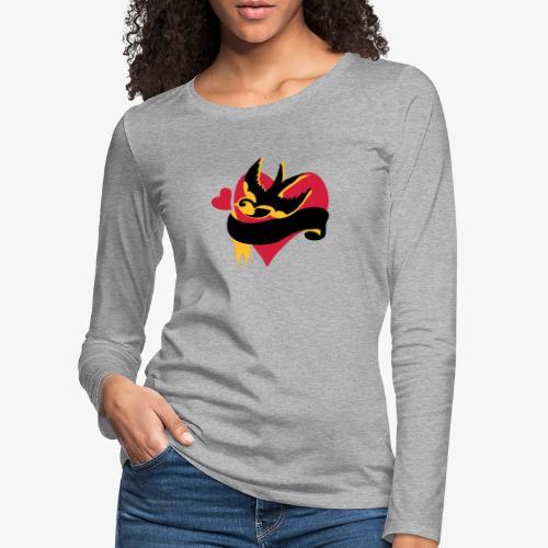 retro tattoo bird with heart - Women's Premium Longsleeve Shirt