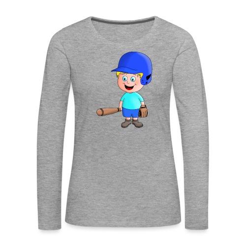 Junger Baseball-Spieler - Frauen Premium Langarmshirt