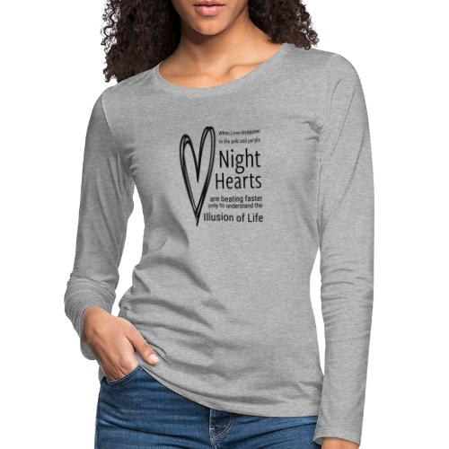 Night Hearts - Dame premium T-shirt med lange ærmer
