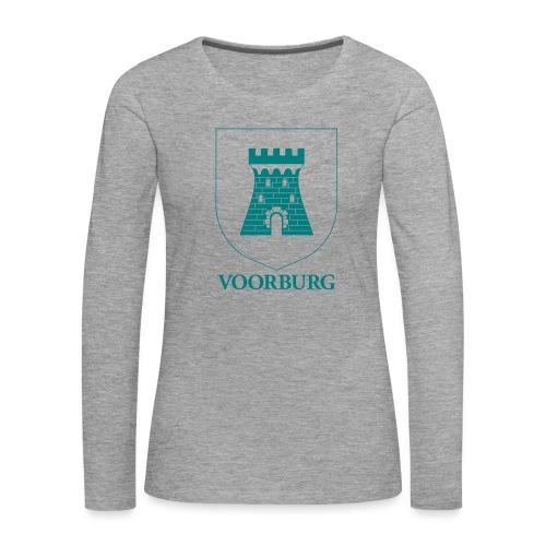 Voorburg wapen lijn - Vrouwen Premium shirt met lange mouwen