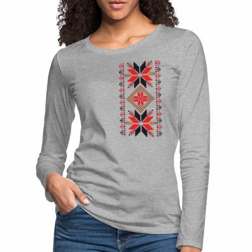 Ornament ludowy - Koszulka damska Premium z długim rękawem