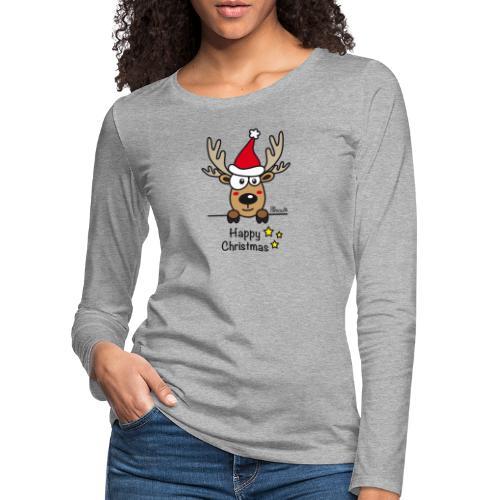 Renne Joyeux Noël - Happy Christmas, Humour, Drôle - T-shirt manches longues Premium Femme
